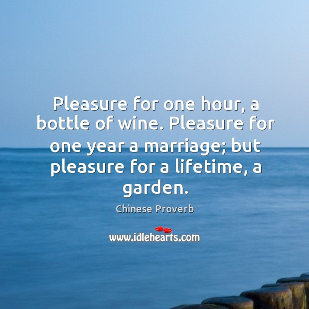 Image, Pleasure for one hour, a bottle of wine. Pleasure for one year a marriage