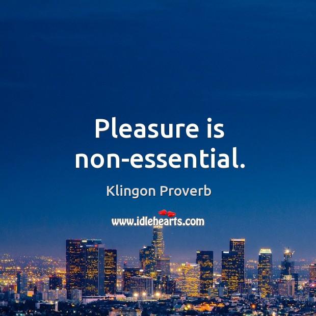 Pleasure is non-essential. Klingon Proverbs Image