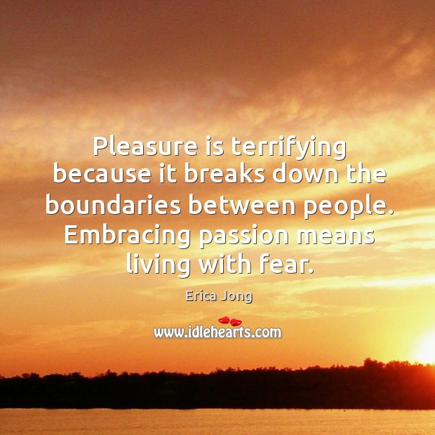 Pleasure is terrifying because it breaks down the boundaries between people. Embracing Image