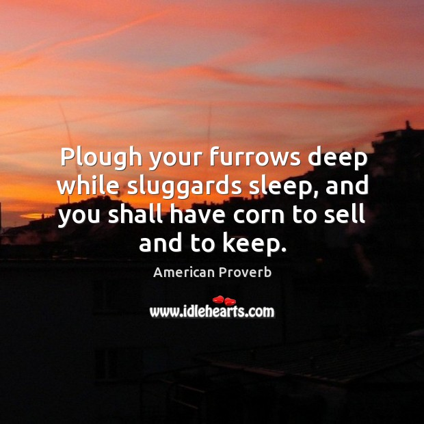 Plough your furrows deep while sluggards sleep, and you shall have corn to sell and to keep. American Proverbs Image