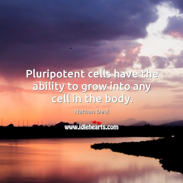 Pluripotent cells have the ability to grow into any cell in the body. Nathan Deal Picture Quote