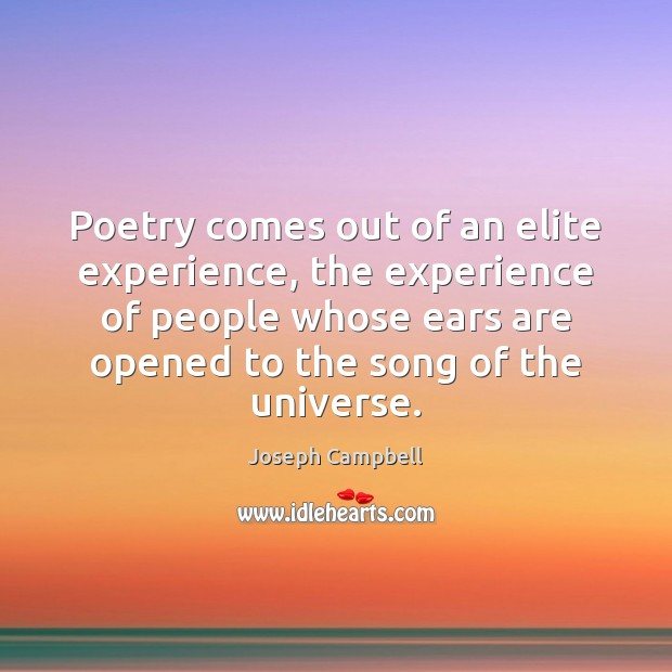 Poetry comes out of an elite experience, the experience of people whose Image