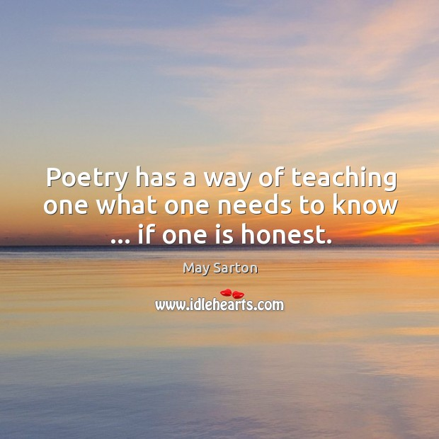 Image, Poetry has a way of teaching one what one needs to know … if one is honest.