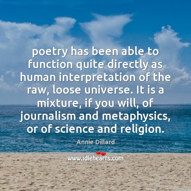 Poetry has been able to function quite directly as human interpretation of Image