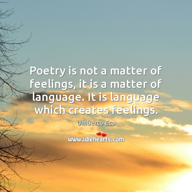 Image, Poetry is not a matter of feelings, it is a matter of