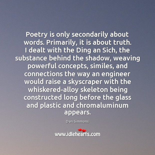 Poetry is only secondarily about words. Primarily, it is about truth. I Image