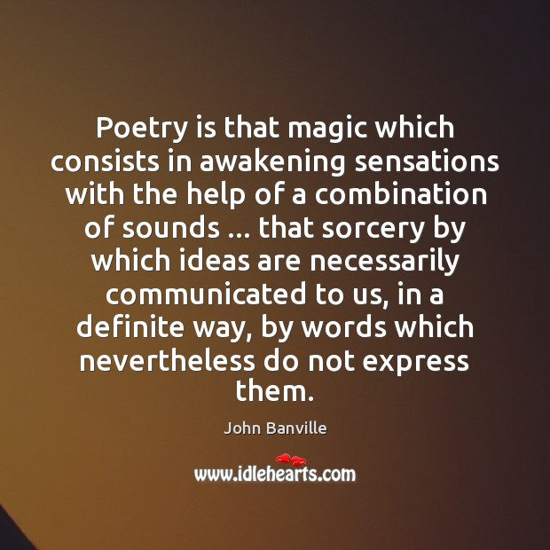 Poetry is that magic which consists in awakening sensations with the help John Banville Picture Quote