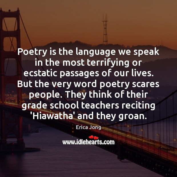 Poetry is the language we speak in the most terrifying or ecstatic Image
