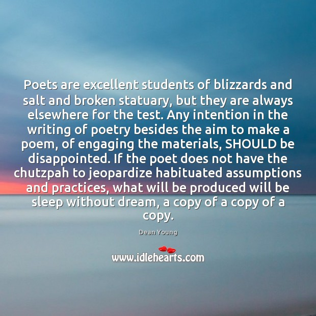 Poets are excellent students of blizzards and salt and broken statuary, but Image