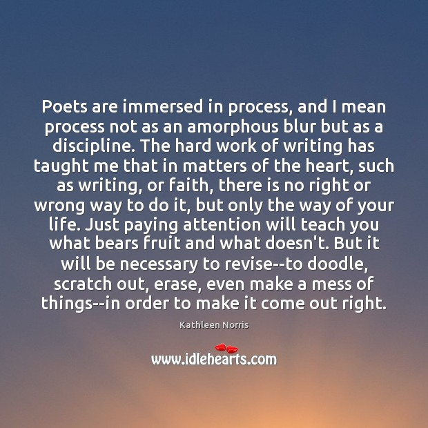 Poets are immersed in process, and I mean process not as an Image