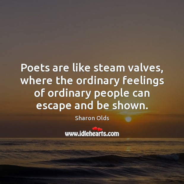 Poets are like steam valves, where the ordinary feelings of ordinary people Image