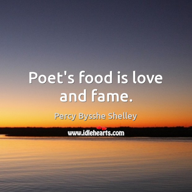 Image, Poet's food is love and fame.