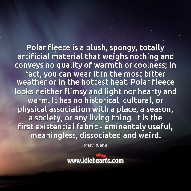 Polar fleece is a plush, spongy, totally artificial material that weighs nothing Mary Ruefle Picture Quote