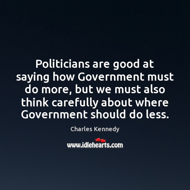 Politicians are good at saying how Government must do more, but we Image