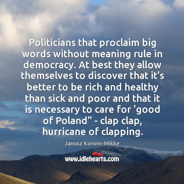 Politicians that proclaim big words without meaning rule in democracy. At best Janusz Korwin-Mikke Picture Quote