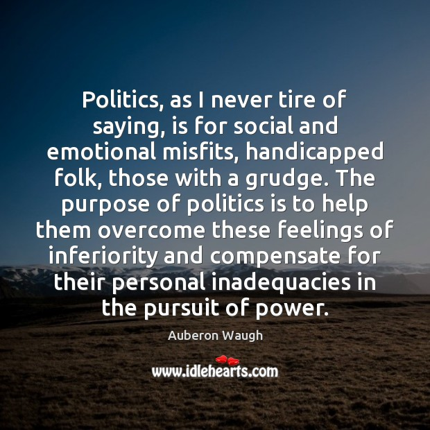 Politics, as I never tire of saying, is for social and emotional Grudge Quotes Image