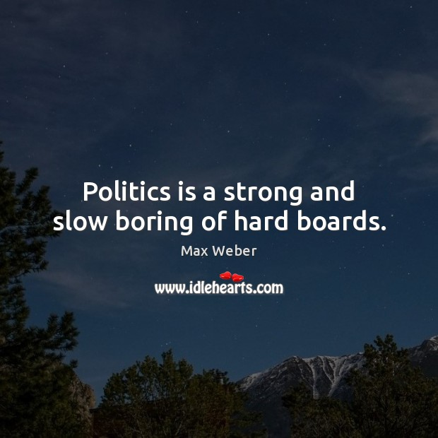 Politics is a strong and slow boring of hard boards. Image