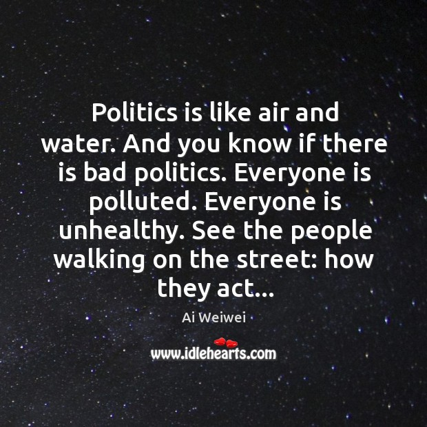 Image, Politics is like air and water. And you know if there is