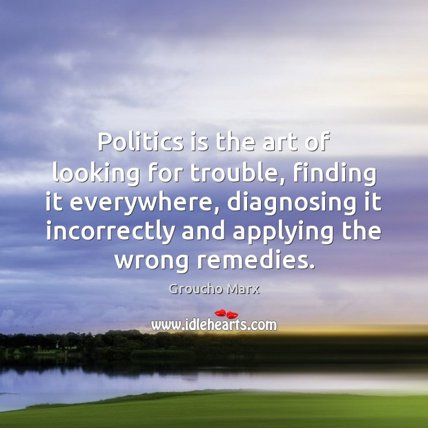 Image, Politics is the art of looking for trouble, finding it everywhere, diagnosing