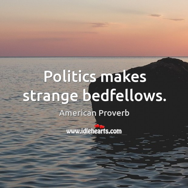 Politics makes strange bedfellows. American Proverbs Image