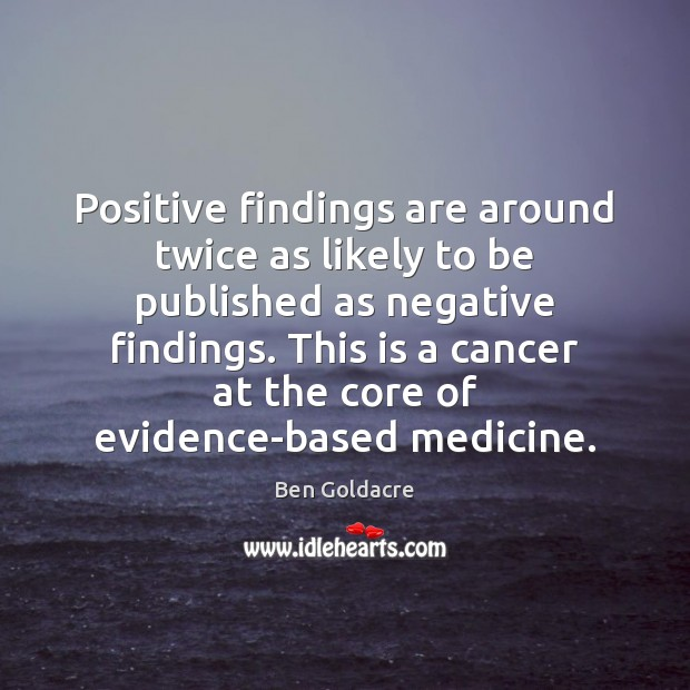 Positive findings are around twice as likely to be published as negative Image