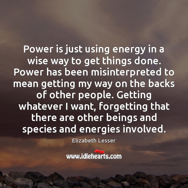 Power is just using energy in a wise way to get things Elizabeth Lesser Picture Quote