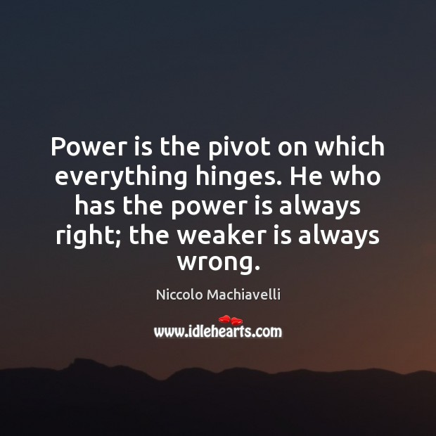 Image, Power is the pivot on which everything hinges. He who has the