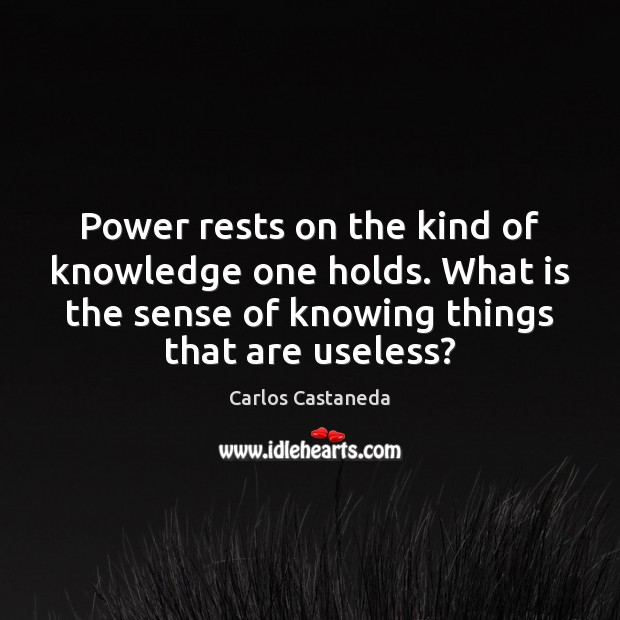 Power rests on the kind of knowledge one holds. What is the Image