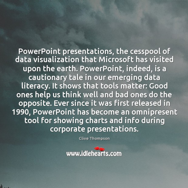 PowerPoint presentations, the cesspool of data visualization that Microsoft has visited upon Image