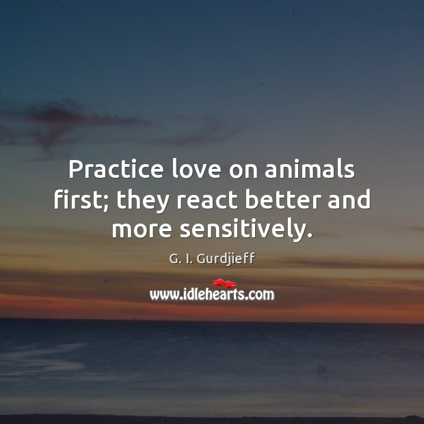 Practice love on animals first; they react better and more sensitively. G. I. Gurdjieff Picture Quote