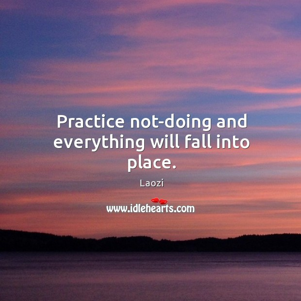 Image, Practice not-doing and everything will fall into place.