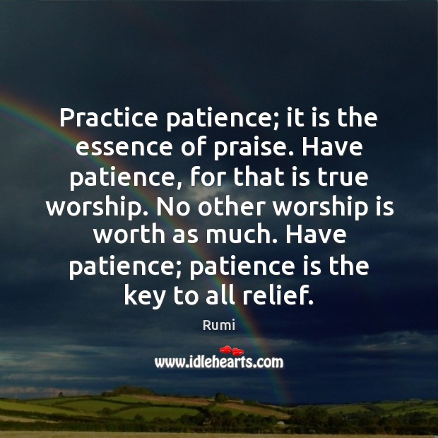 Practice patience; it is the essence of praise. Have patience, for that Image