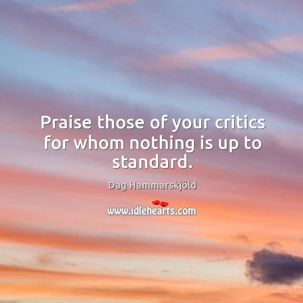 Image, Praise those of your critics for whom nothing is up to standard.