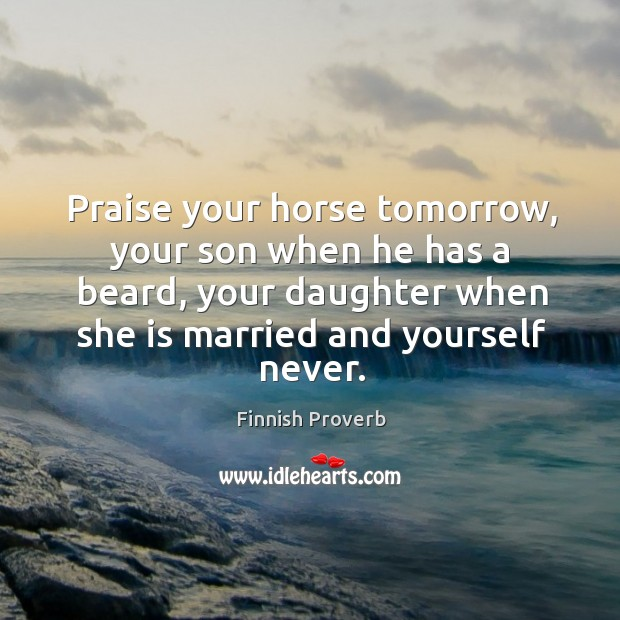 Praise your horse tomorrow, your son when he has a beard Finnish Proverbs Image