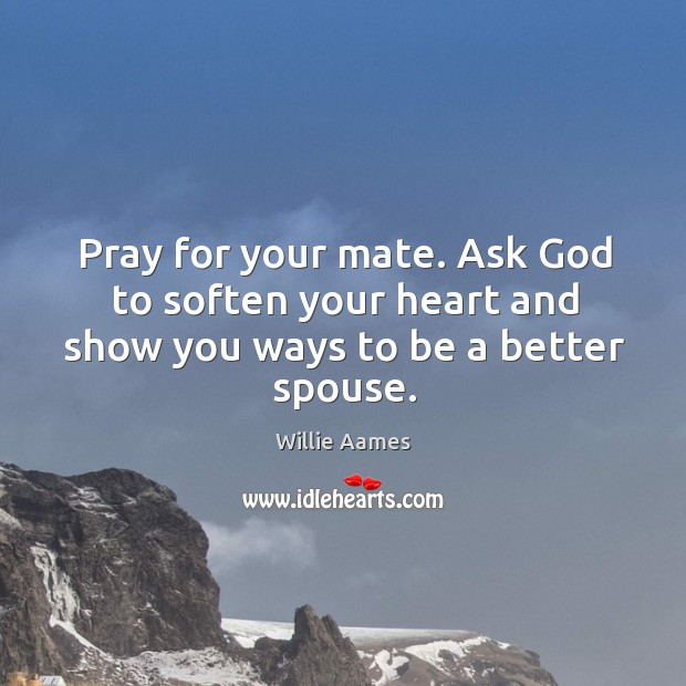Pray for your mate. Ask God to soften your heart and show you ways to be a better spouse. Willie Aames Picture Quote