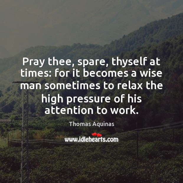 Pray thee, spare, thyself at times: for it becomes a wise man Image