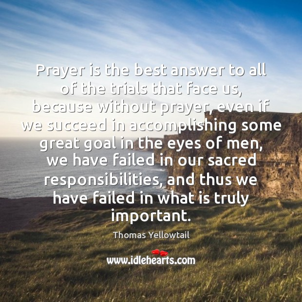Prayer is the best answer to all of the trials that face Image