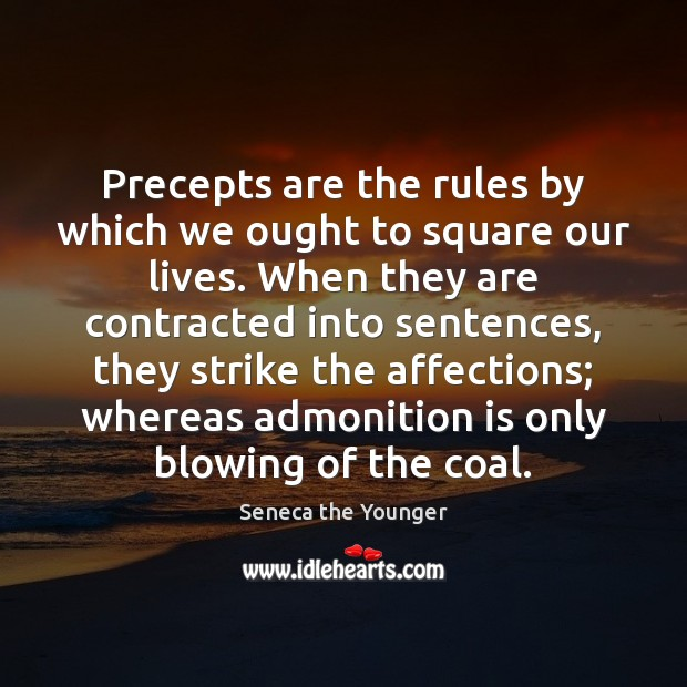 Image, Precepts are the rules by which we ought to square our lives.