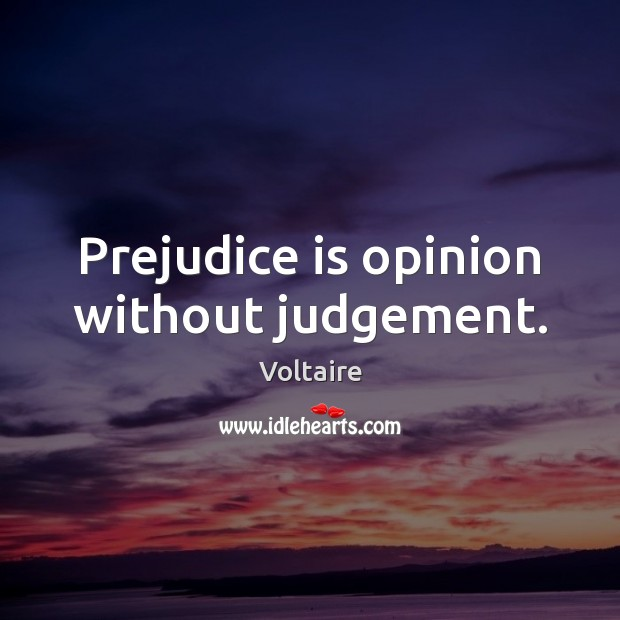 Image, Prejudice is opinion without judgement.