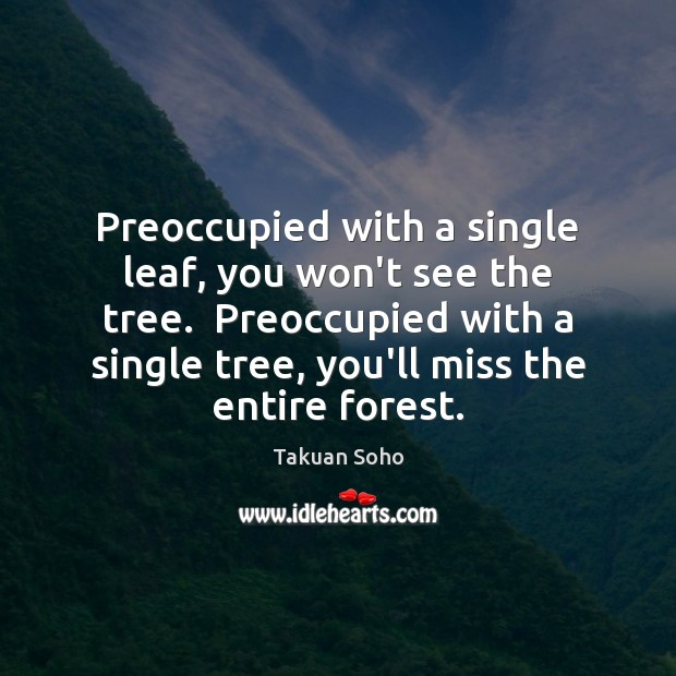 Preoccupied with a single leaf, you won't see the tree.  Preoccupied with Image