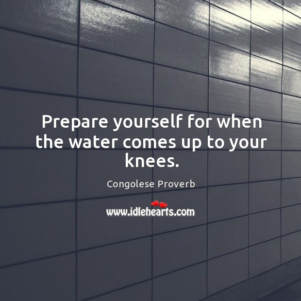 Prepare yourself for when the water comes up to your knees. Congolese Proverbs Image
