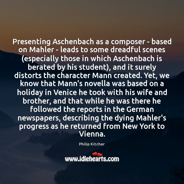 Image, Presenting Aschenbach as a composer – based on Mahler – leads to