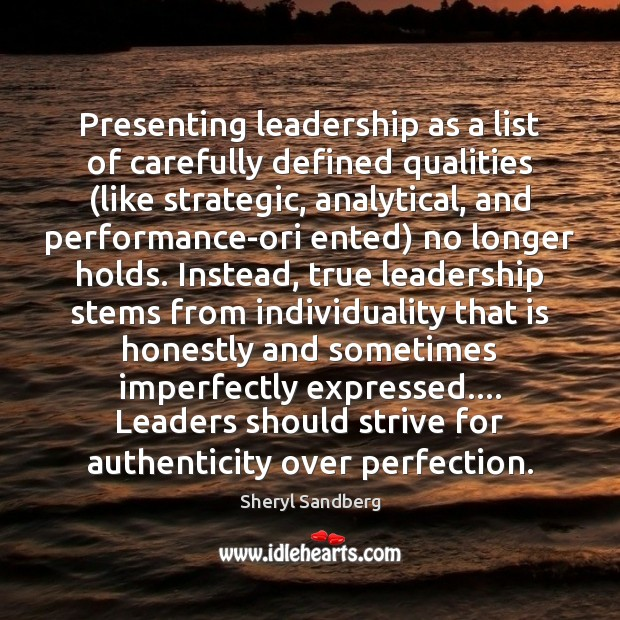 Image, Presenting leadership as a list of carefully defined qualities (like strategic, analytical,