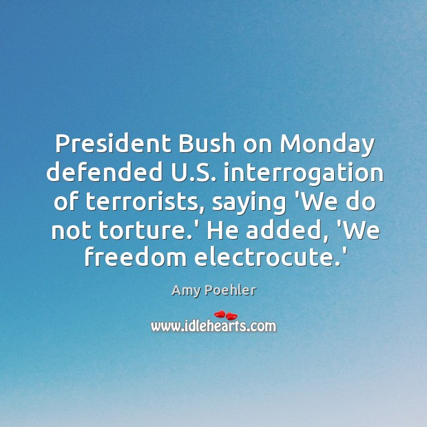 President Bush on Monday defended U.S. interrogation of terrorists, saying 'We Image