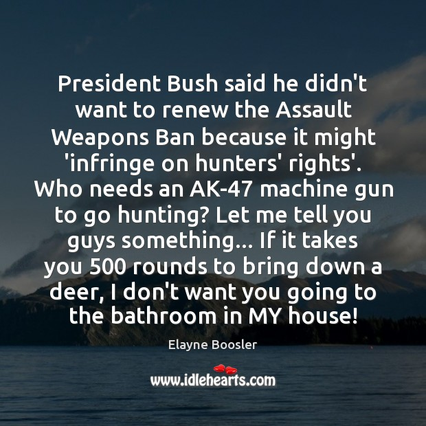 Image, President Bush said he didn't want to renew the Assault Weapons Ban