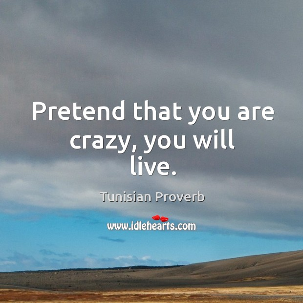 Pretend that you are crazy, you will live. Tunisian Proverbs Image