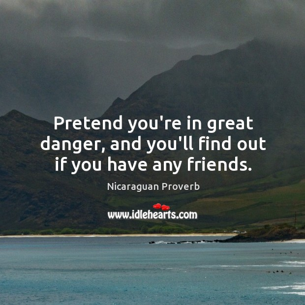 Pretend you're in great danger, and you'll find out if you have any friends. Nicaraguan Proverbs Image