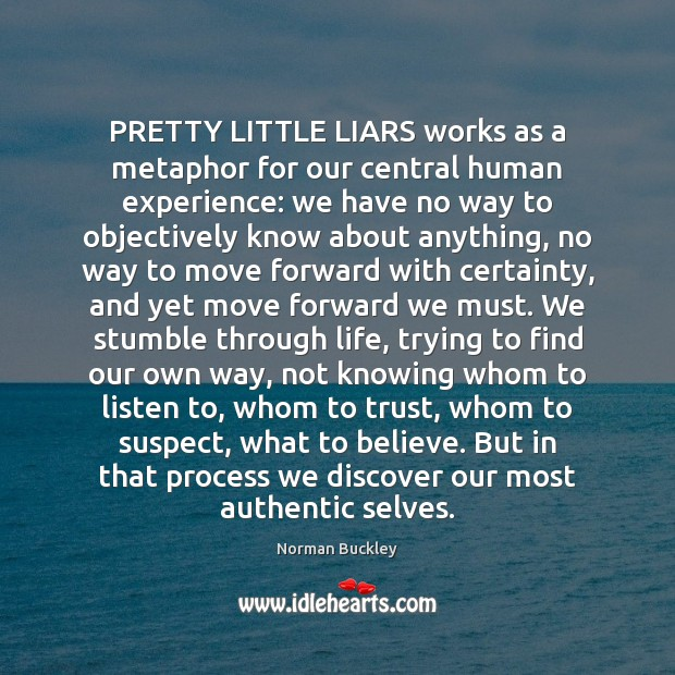 Image, PRETTY LITTLE LIARS works as a metaphor for our central human experience: