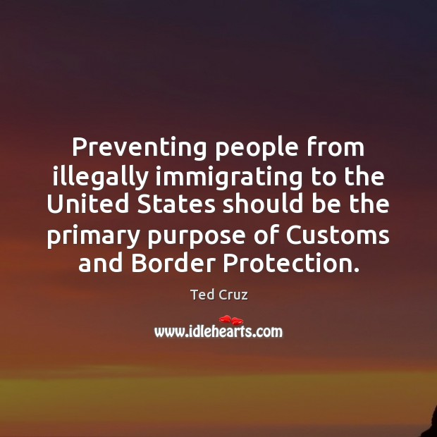 Preventing people from illegally immigrating to the United States should be the Ted Cruz Picture Quote
