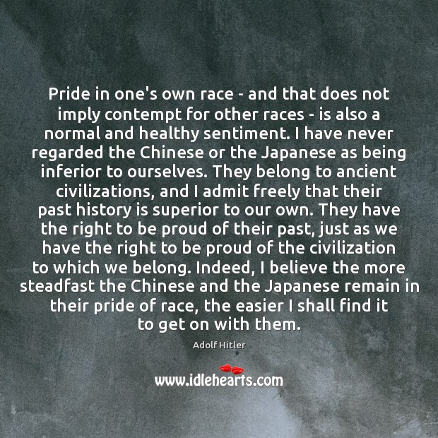 Pride in one's own race – and that does not imply contempt Image